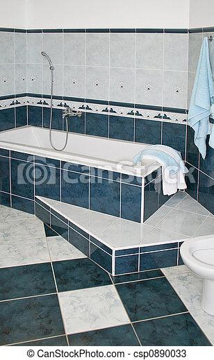 azul, baño - csp0890033