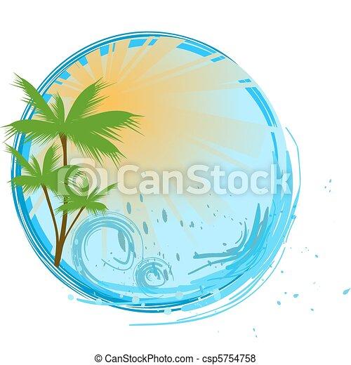 azul, bandeira, palma, redondo - csp5754758