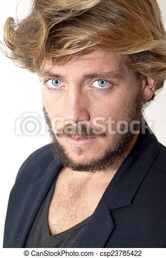 azul, barba, olhos, homem, bonito - csp23785422