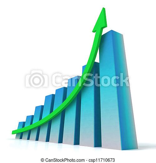 El mapa del bar azul muestra un aumento de beneficios - csp11710673