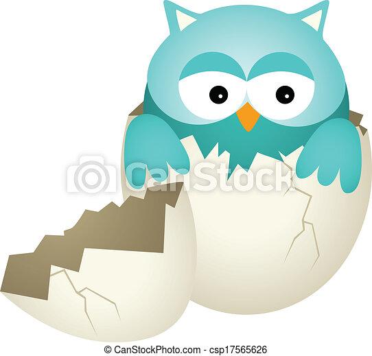 Búho azul en huevo - csp17565626