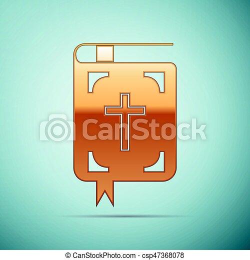 icono de la Biblia de oro en el fondo azul. Ilustración de vectores - csp47368078