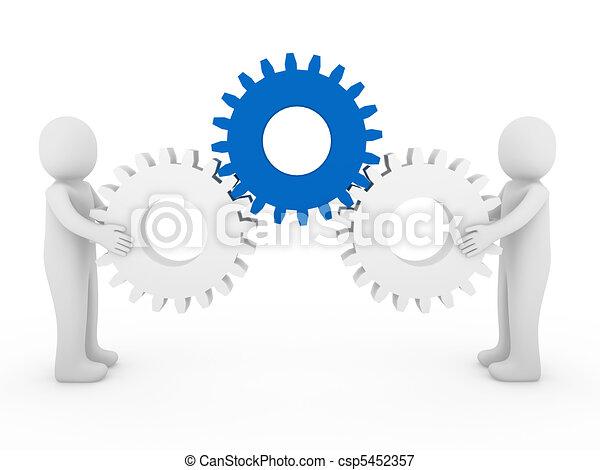 azul, blanco, engranaje, humano, 3d - csp5452357