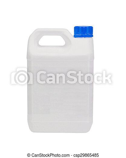 Un contenedor de plástico blanco con gorra azul - csp29865485