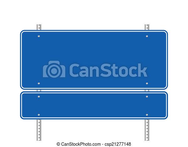 Señal de carretera azul en blanco - csp21277148