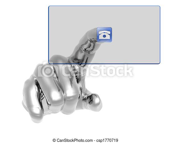 azul, botão empurra, mão, transparente, 3d - csp1770719