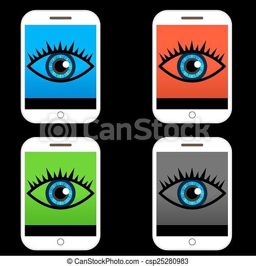 azul, botão, olho, ícone - csp25280983