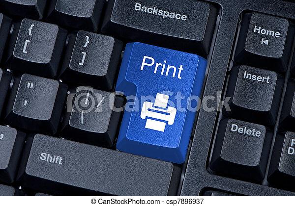 azul, botón, computadora de teclado, internet, impresión, concept. - csp7896937