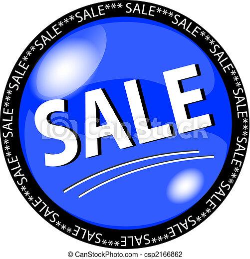 azul, botón, venta - csp2166862