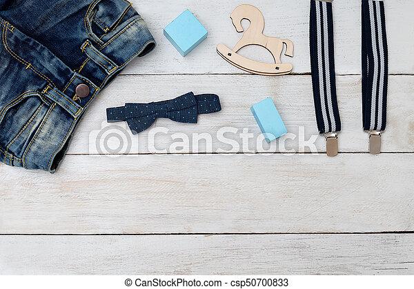 azul, boy., accesorios, arriba, ropa, simulado