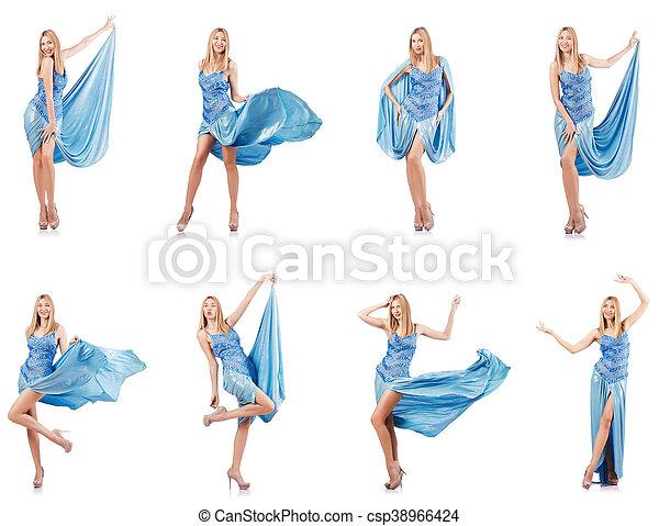 azul, branca, mulher, vestido, atraente - csp38966424