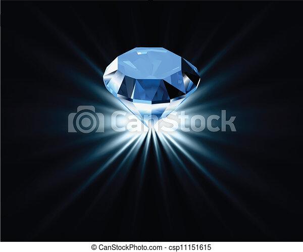 Brillante diamante azul. Vector - csp11151615