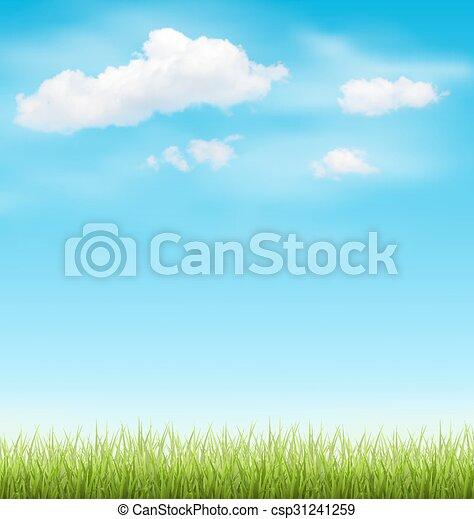El césped verde con nubes en el cielo azul - csp31241259