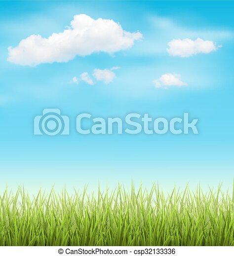 El césped verde con nubes en el cielo azul - csp32133336