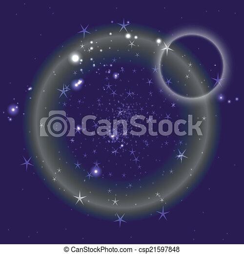 azul, círculo, fundo, estrelas - csp21597848