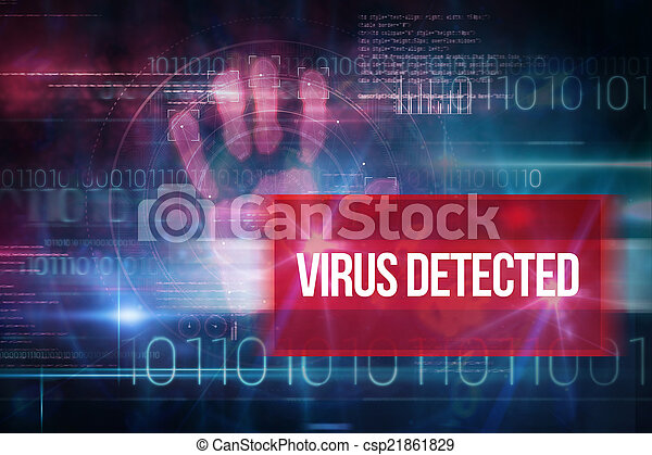 Virus detectado contra el diseño de tecnología azul con código binario - csp21861829
