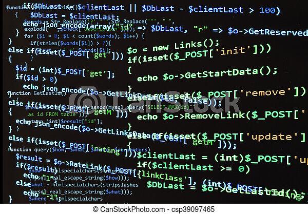 Código PHP en pantalla negra, texto azul - csp39097465