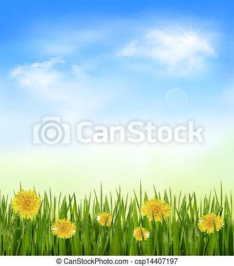 azul, capim, sky., natureza, vetorial, experiência verde, flores - csp14407197