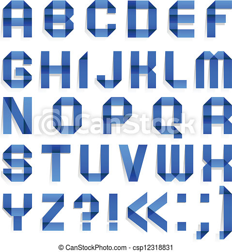 Azul, cartas, coloreado, alfabeto, -, doblado, papel. D, y, b ...