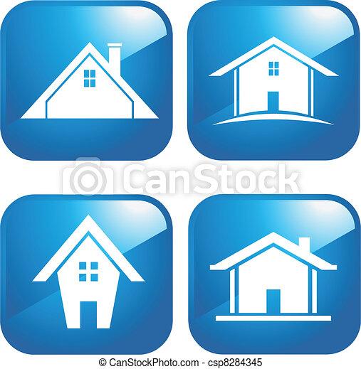azul, casas, ícone - csp8284345