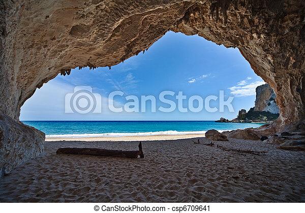 azul, caverna, céu, férias, mar, paraisos  - csp6709641