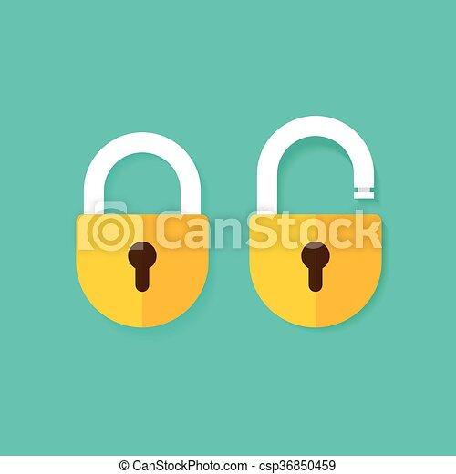 Bloqueen los iconos vectoriales abiertos y cerrados aislados en el fondo azul - csp36850459