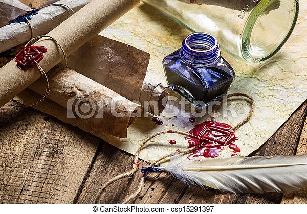 azul, cheio, antigas, scrolls, vindima, tinta, escrivaninha, escriba - csp15291397