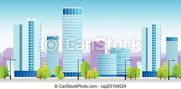 azul, cidade, skylines, predios, ilustração, arquitetura, cityscape - csp23104524