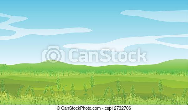 Un campo vacío bajo un cielo azul claro - csp12732706