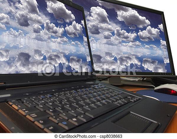 azul, cielo dramático, exhibición, dual - csp8038663