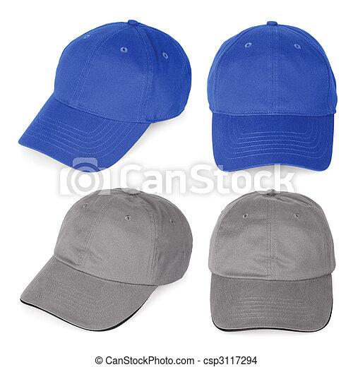azul, cinzento, em branco, basebol tapa - csp3117294