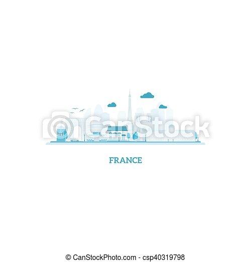 Silueta de paisajes de Francia en colores azules - csp40319798