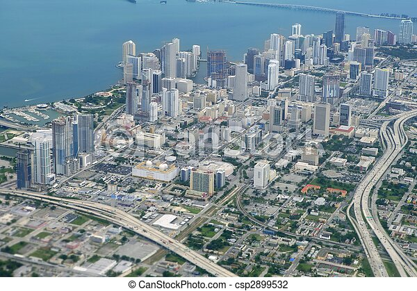 azul, ciudad, aéreo, miami, céntrico, vista de mar - csp2899532