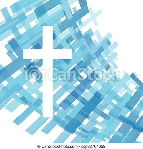 azul, claro, cruz, ilustración, cristianismo, religión, vector, plano de fondo, resumen - csp32704659