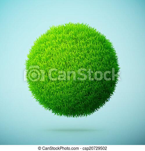 Esfera de hierba verde en un fondo azul claro - csp20729502