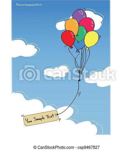 azul, colorido, cielo, etiqueta, globos, vacío - csp9467827