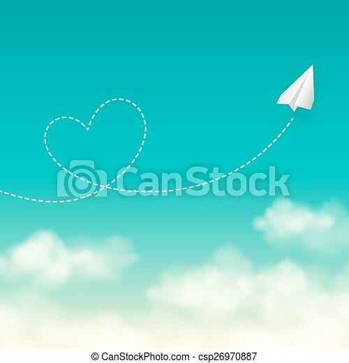azul, conceito, amor, ensolarado, viagem, voando, céu, vetorial, avião papel, fundo - csp26970887