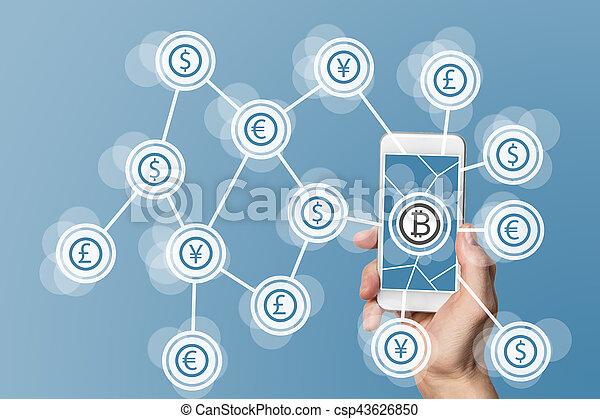 azul, conceito, computando, móvel, blockchain, bitcoin, fundo, tecnologia - csp43626850