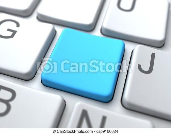Teclado blanco azul, concepto de las redes sociales - csp9100024