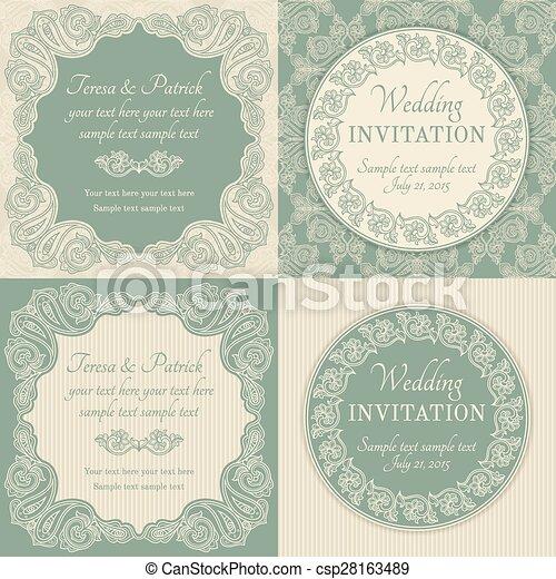 Invitación barroca, azul y beige - csp28163489