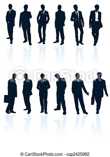 Set de vectores azules oscuros, hombres de negocios con reflejos. Más en mi galería. - csp2425982