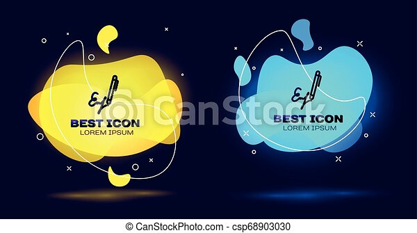El ícono de la línea de la firma negra aislado en el fondo azul. Pen y subordinado, sub-escritura, símbolo ratificado. Un conjunto de formas geométricas de color líquido abstracto. Ilustración de vectores - csp68903030