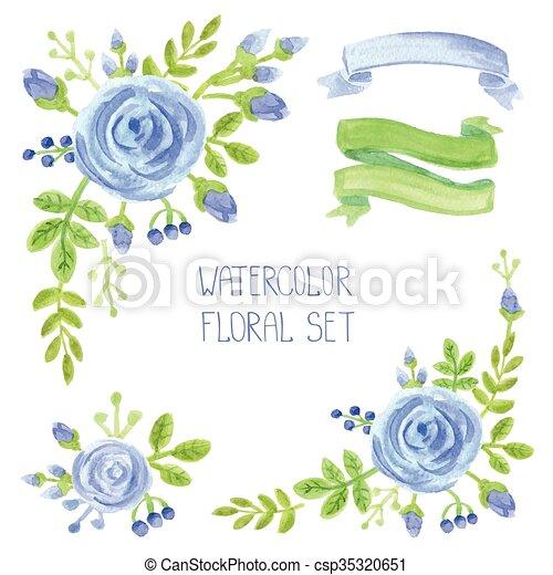 Azul Conjunto Ramo Decoracion Acuarela Flores Azul Bayas