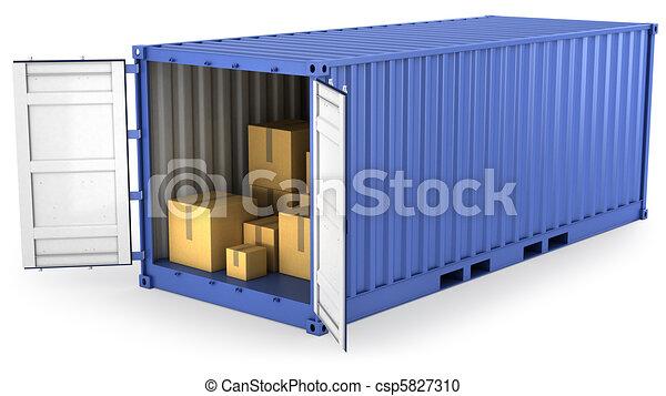 El azul abrió contenedor con cajas de cartón dentro - csp5827310
