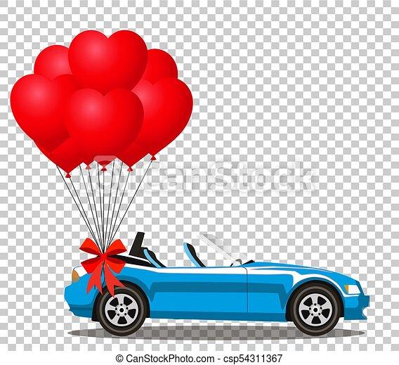 azul, coração, aberta, cabriolé, car, modernos, balões, caricatura - csp54311367