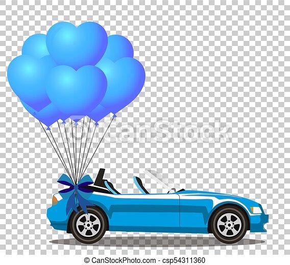 azul, coração, aberta, cabriolé, dado forma, car, balões, caricatura, grupo - csp54311360