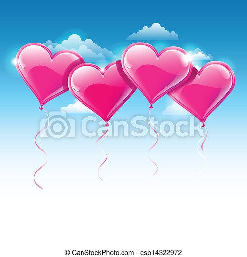 azul, coração amoldou, céu, sobre, ilustração, vetorial, balões - csp14322972