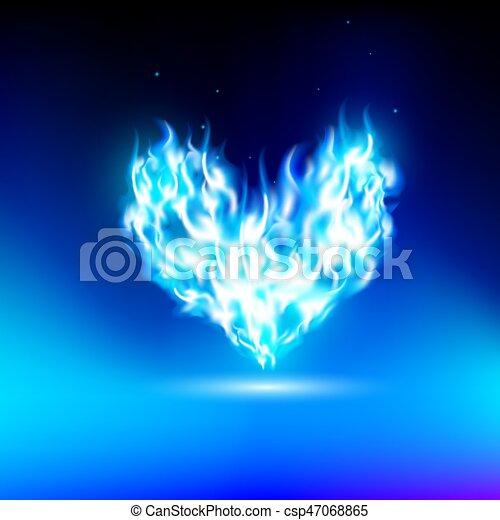 Corazón humano con una luz azul - csp47068865