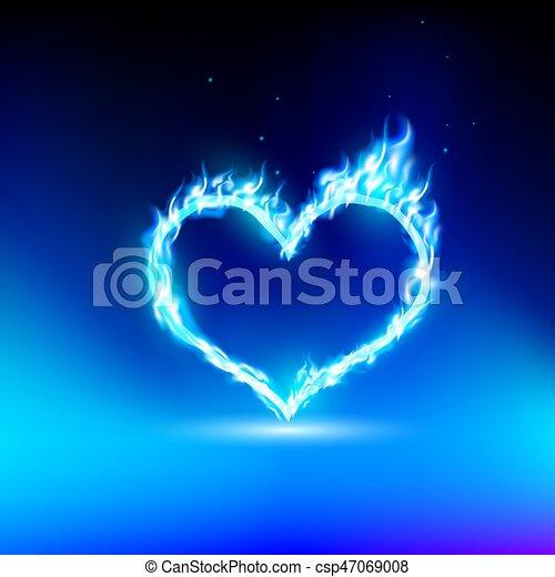 Corazón humano con una luz azul - csp47069008