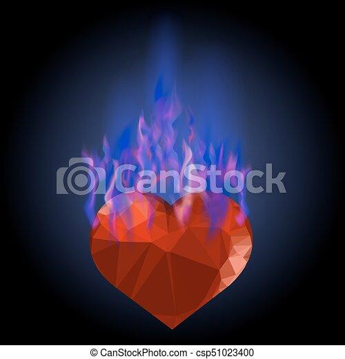 Corazón ardiente con fuego azul - csp51023400